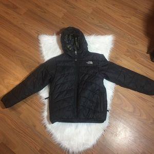 North Face black & plaid Reversible coat, M 10/12